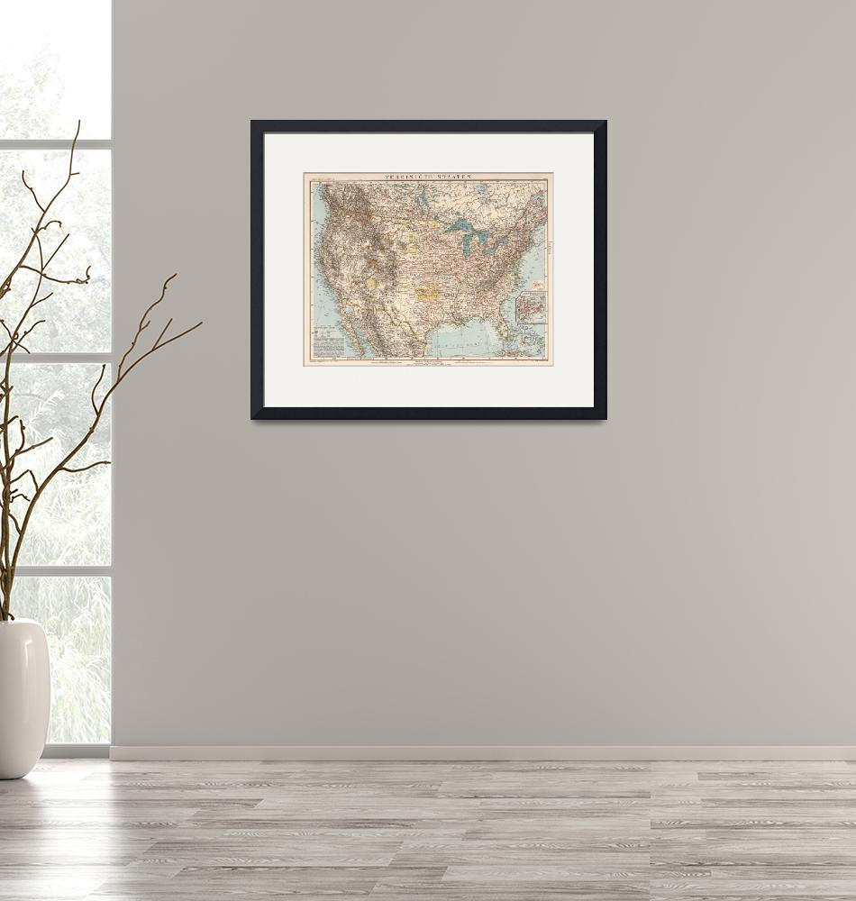 """""""Vintage United States Map (1898)""""  by Alleycatshirts"""