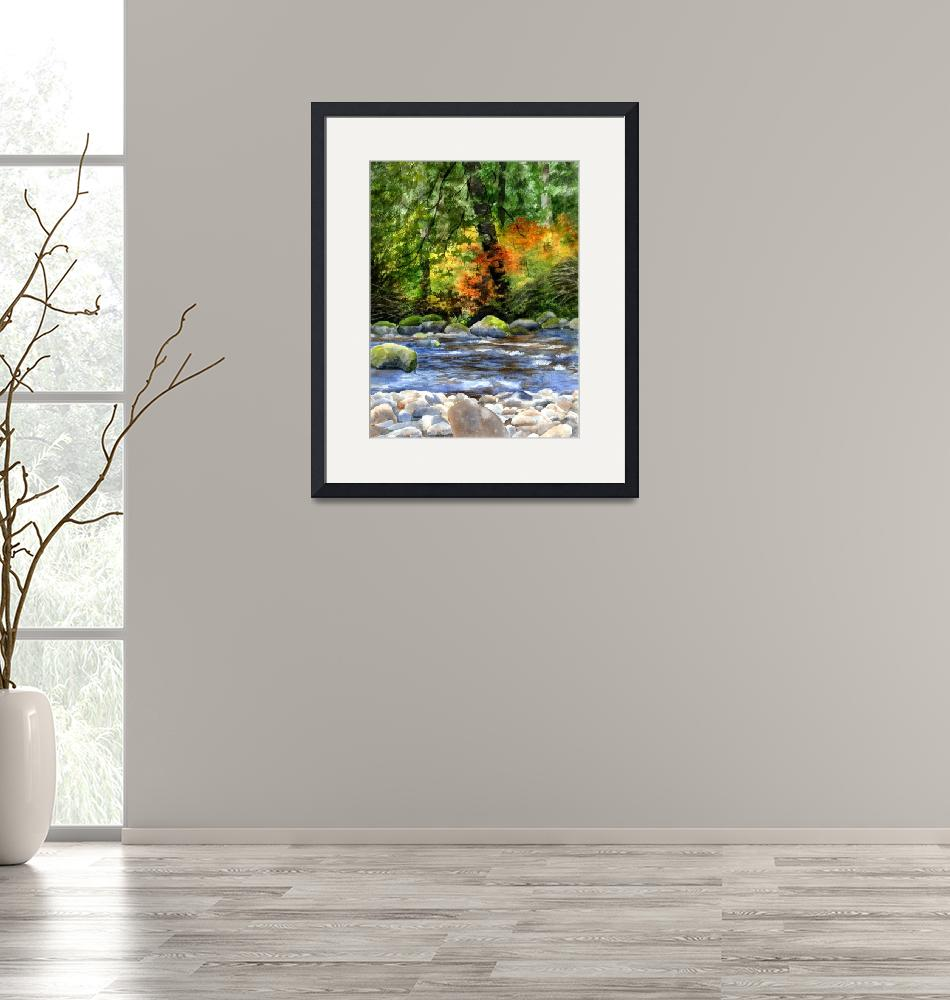 """autumn colors in the forest with creek reflections""  (2016) by Pacific-NW-Watercolors"