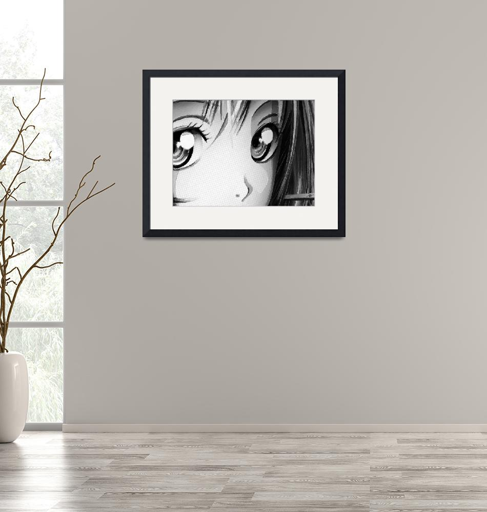 """""""Anime Girl Eyes 2 Black And White""""  (2018) by RubinoFineArt"""