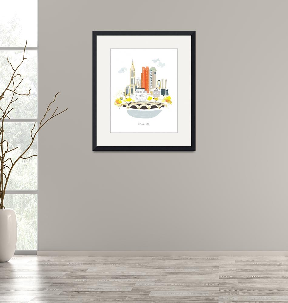 """""""Columbus Modern Cityscape Illustration""""  by AlbieDesigns"""