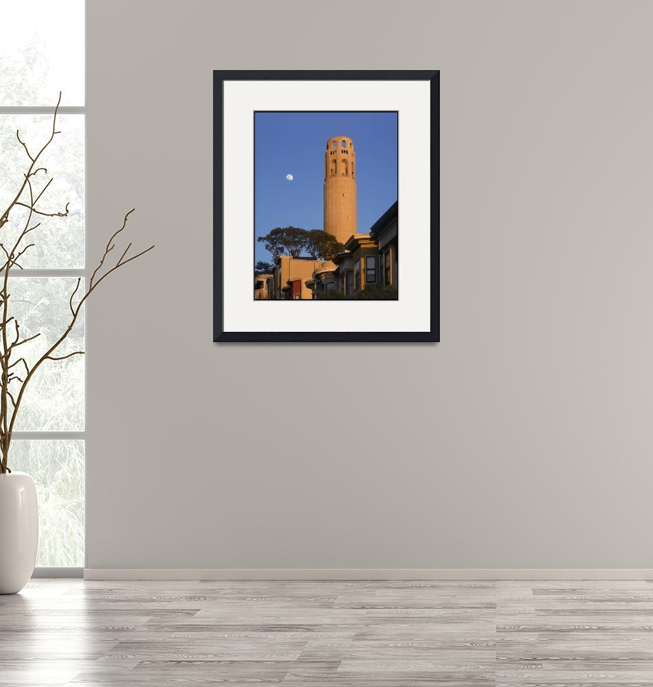 """Coit Tower with Moon, Telegraph Hill San Francisco""  (1994) by worldwidearchive"