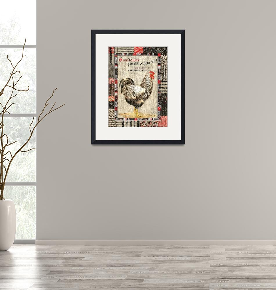 """""""Country Farmhouse Style Chicken Grain Sack Vintage""""  (2016) by WAGlacierGraphics"""