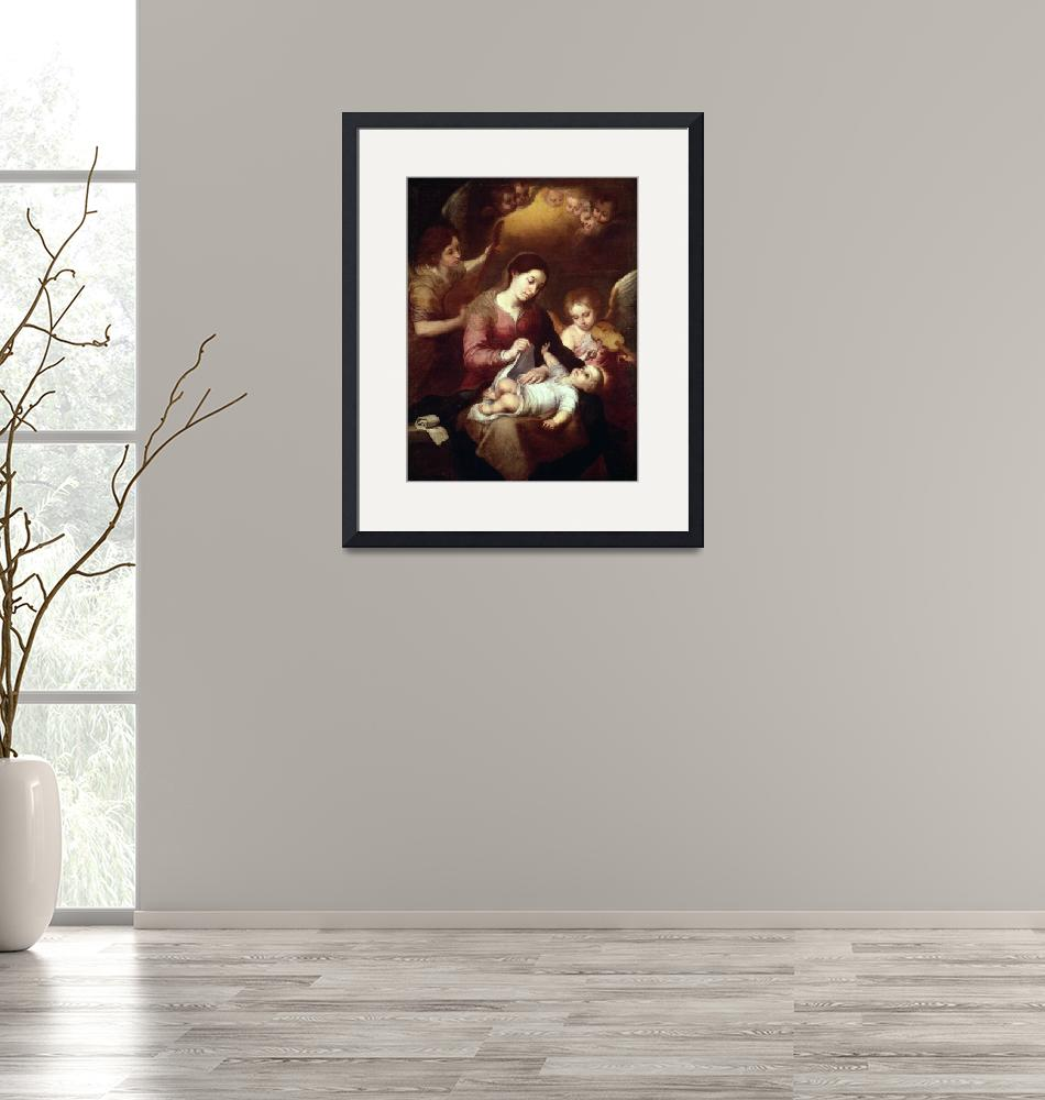 """""""Madonna Wrapping the Christ Child in Swaddling Rob""""  by fineartmasters"""
