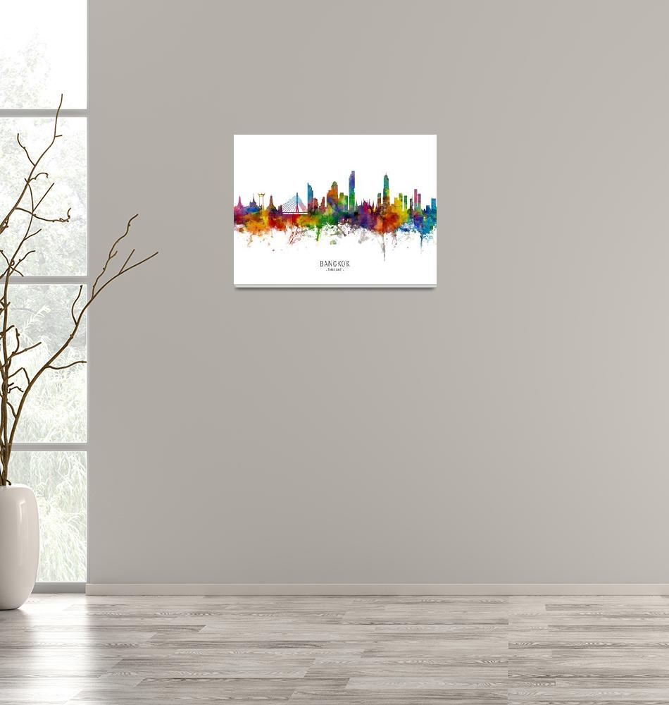 """Bangkok Thailand Skyline""  (2019) by ModernArtPrints"