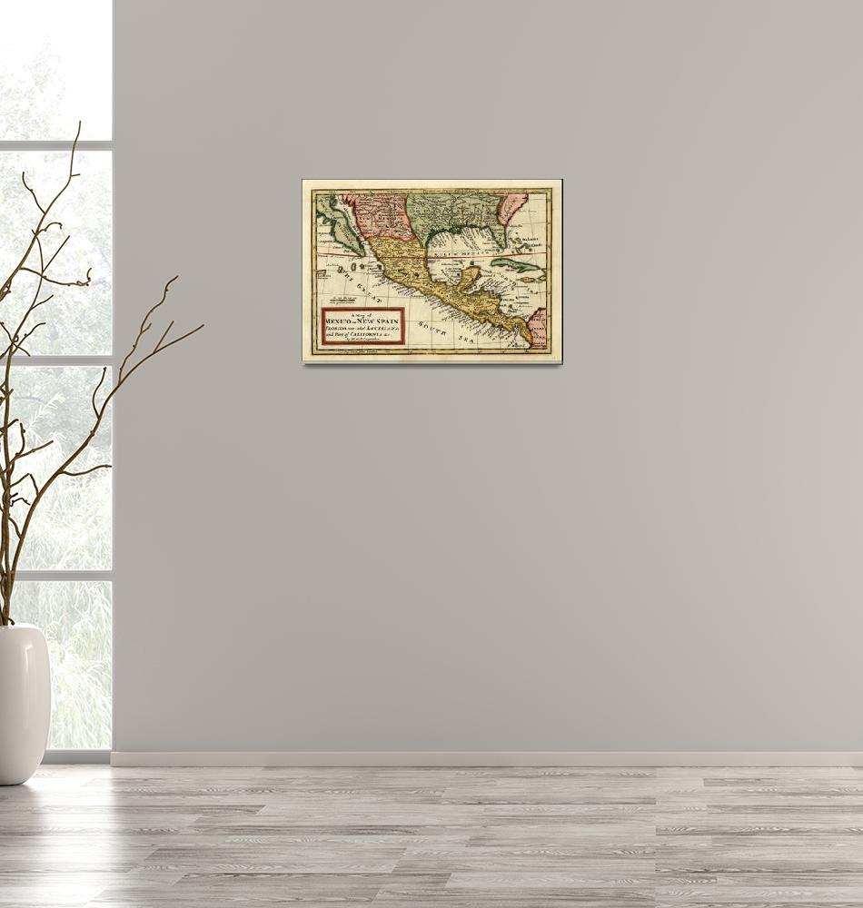 """Vintage Map of Mexico (1708)""  by Alleycatshirts"