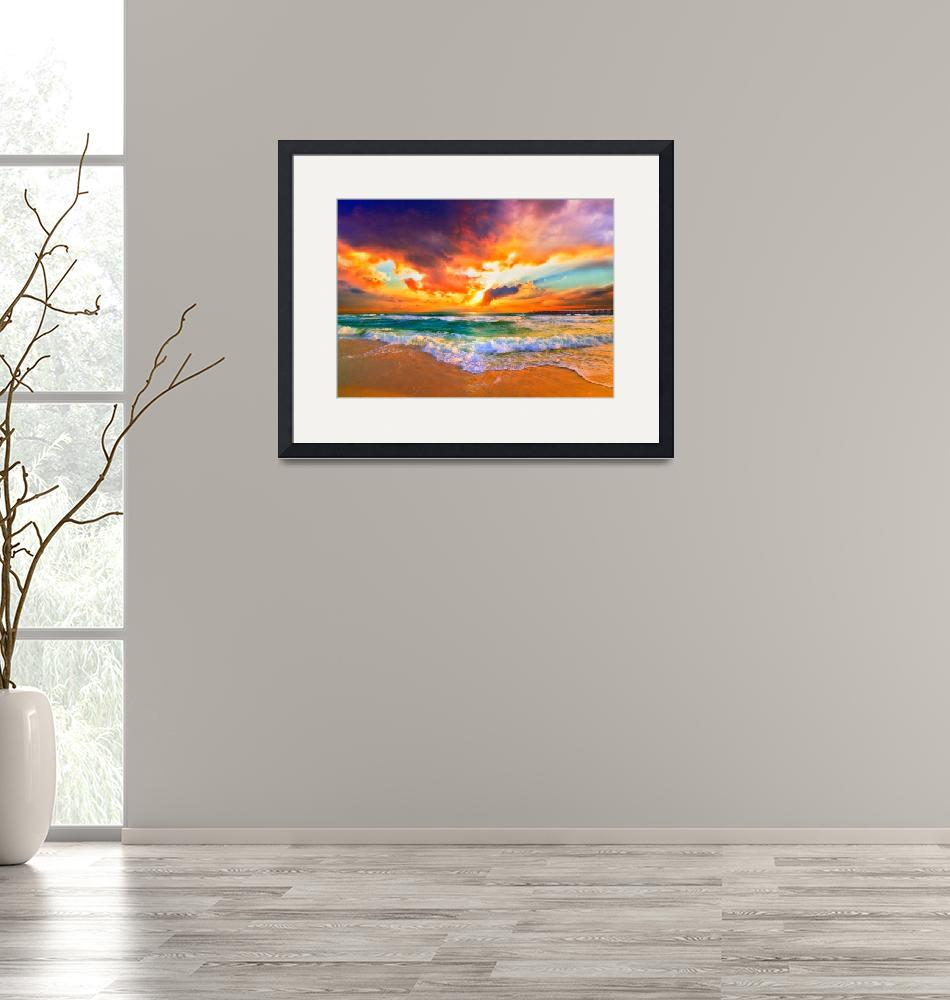 """Red Orange Purple Sunset Green Sea Waves Art Print""  (2013) by eszra"