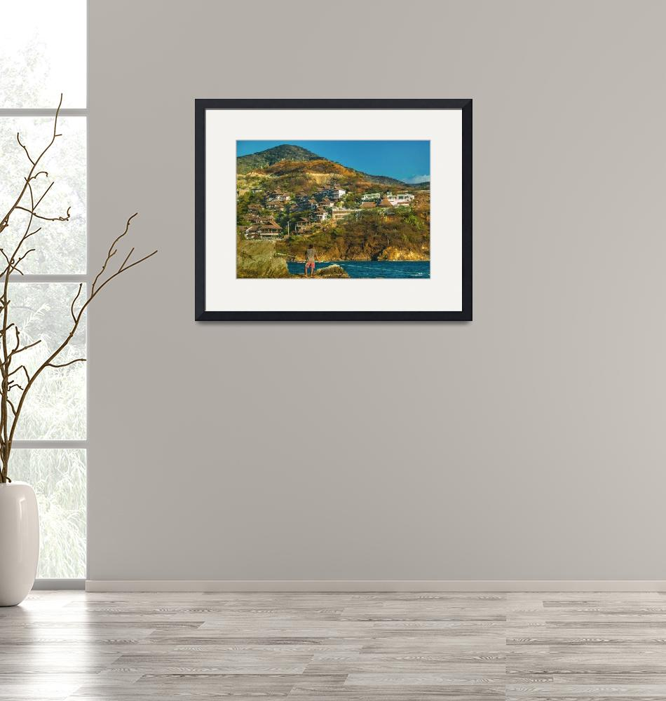 """""""Taganga Town Landscape, Colombia""""  (2015) by danfleitesart"""