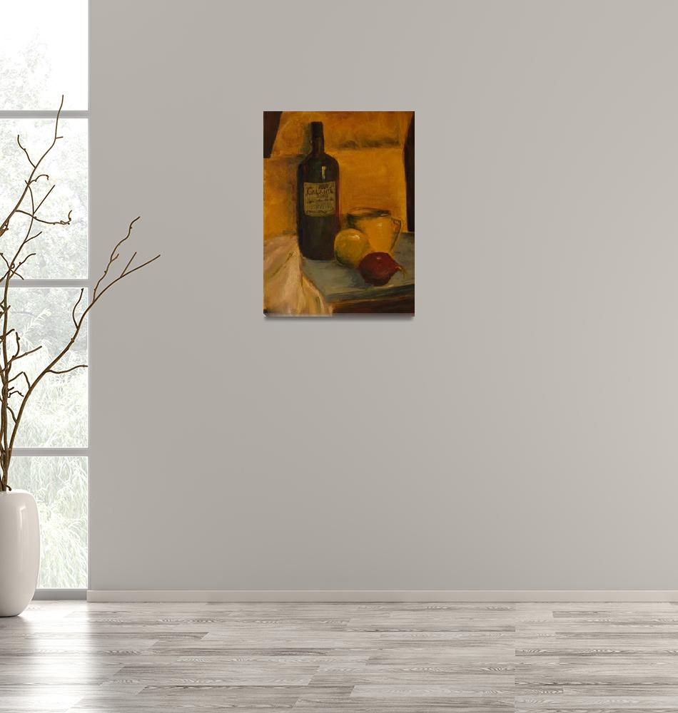 """""""SL - Still Life with Wine Bottle and Fruit""""  (2008) by PaulGalante"""