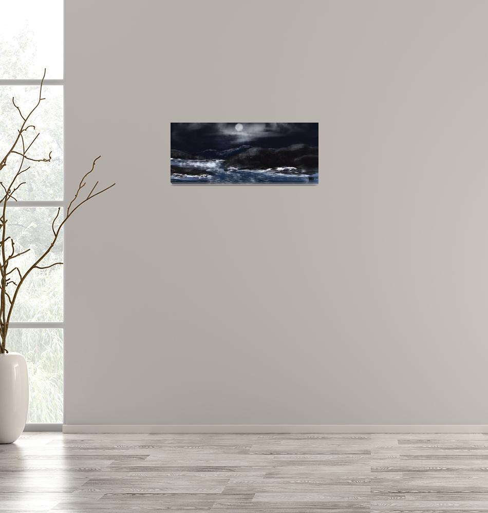 """Ocean and Rocks""  by CosmoPainter"