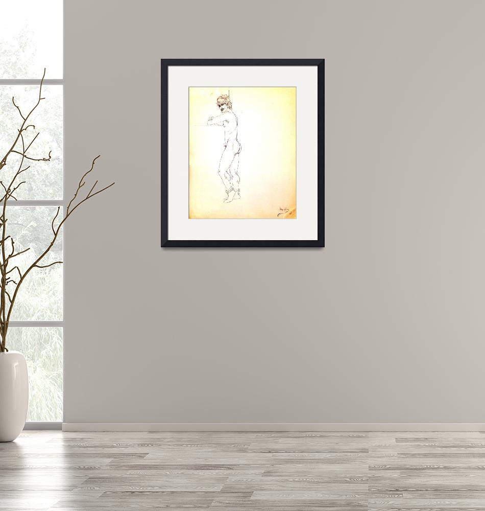 """""""Nude male figure with headband and feather""""  (1981) by CipangoArtGallery"""