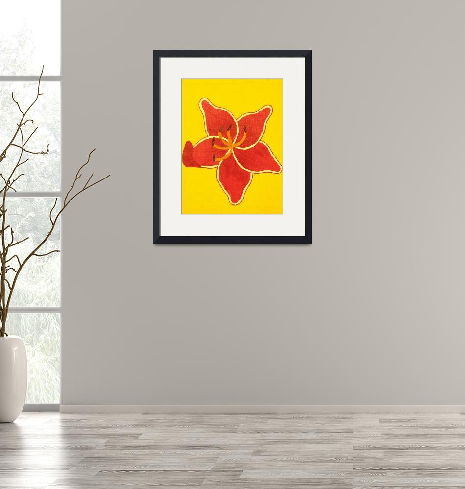 """""""lilly sunburst with yellow background""""  (2010) by bbeards4"""