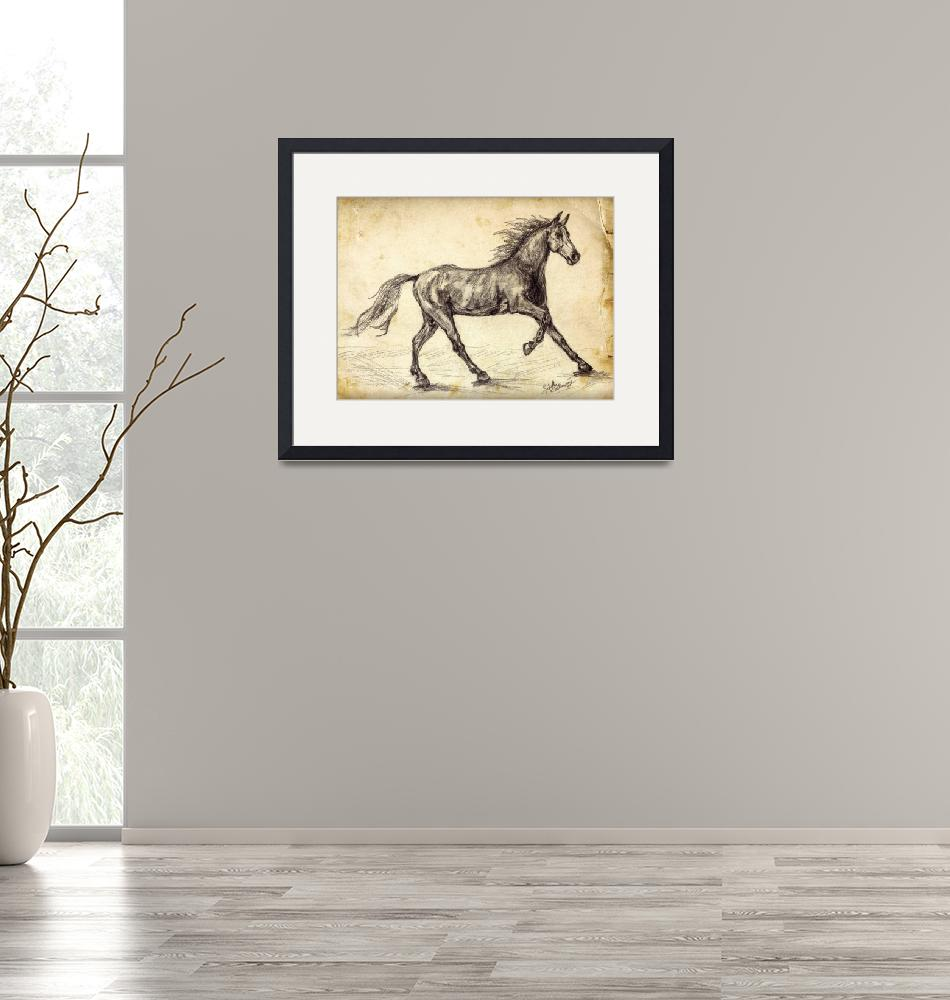 """""""Horse Freehand Graphite Study""""  (2015) by GinetteCallaway"""