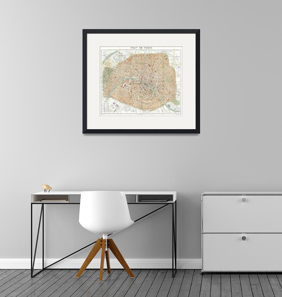 """""""Vintage Map of Paris France (1892)""""  by Alleycatshirts"""