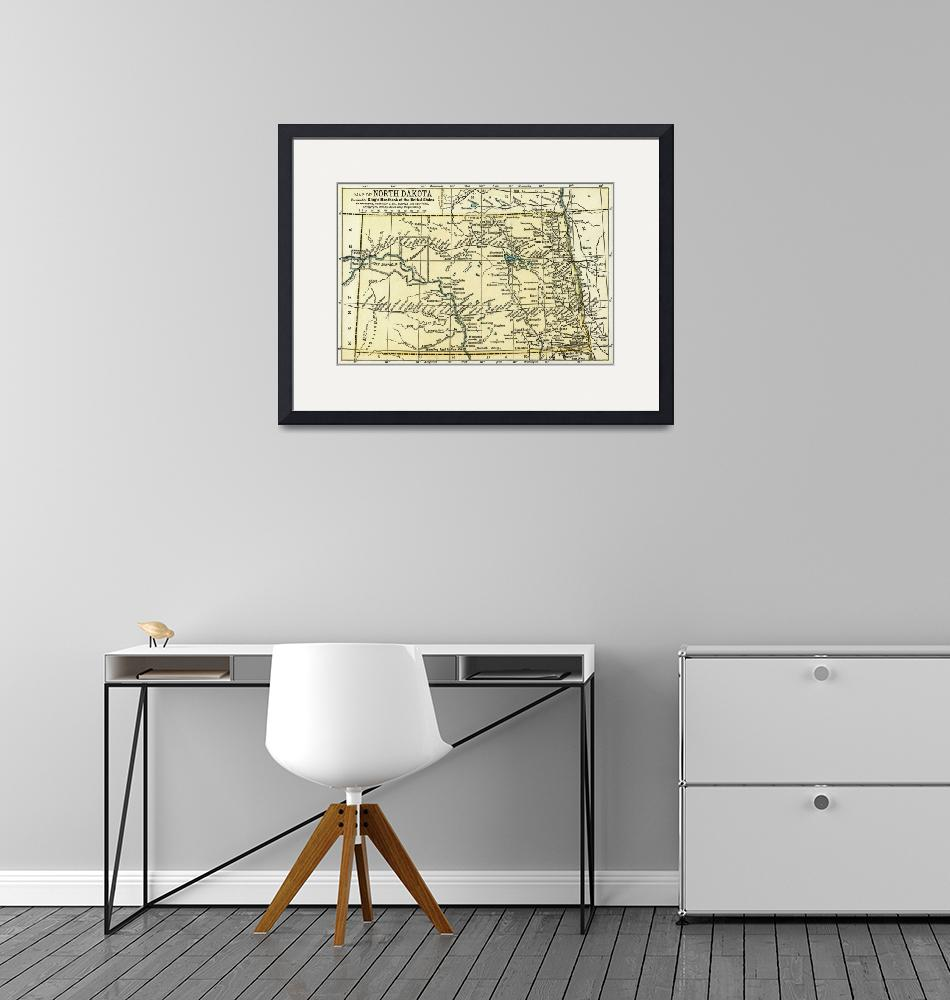 """North Dakota Antique Map 1891"" (2016) by WilshireImages"