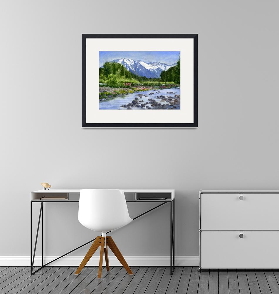 """""""Inlet Mountains from Glacier Creek""""  (2013) by Pacific-NW-Watercolors"""