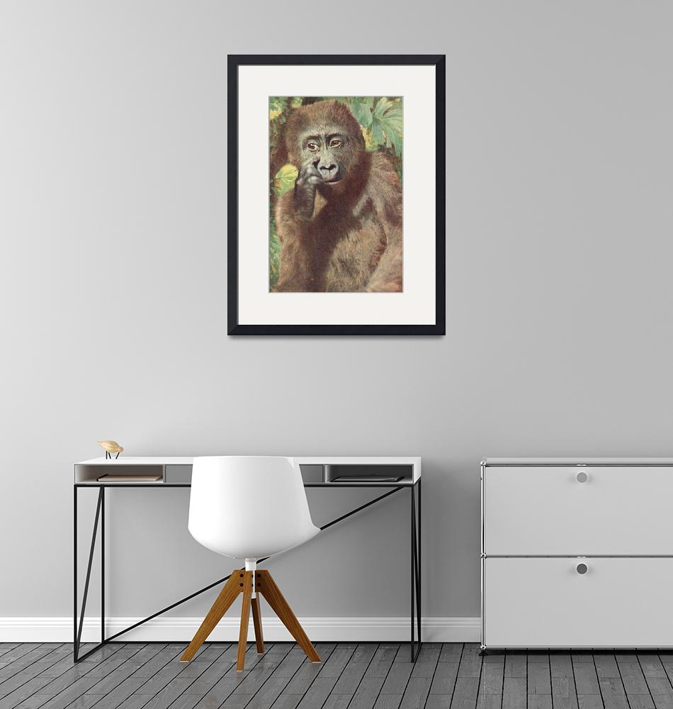 """Gorilla, deep in thought""  (1920) by birthdaygifts"