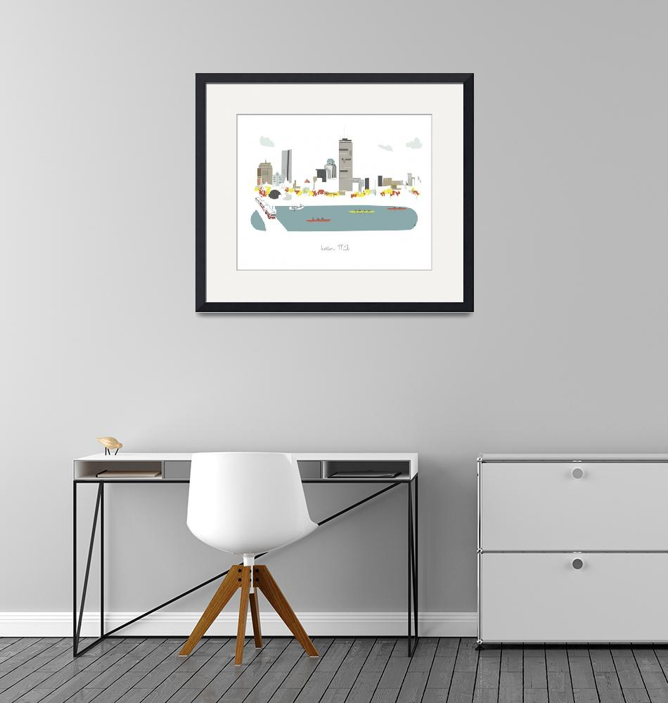"""""""Boston Modern Cityscape Illustration""""  by AlbieDesigns"""