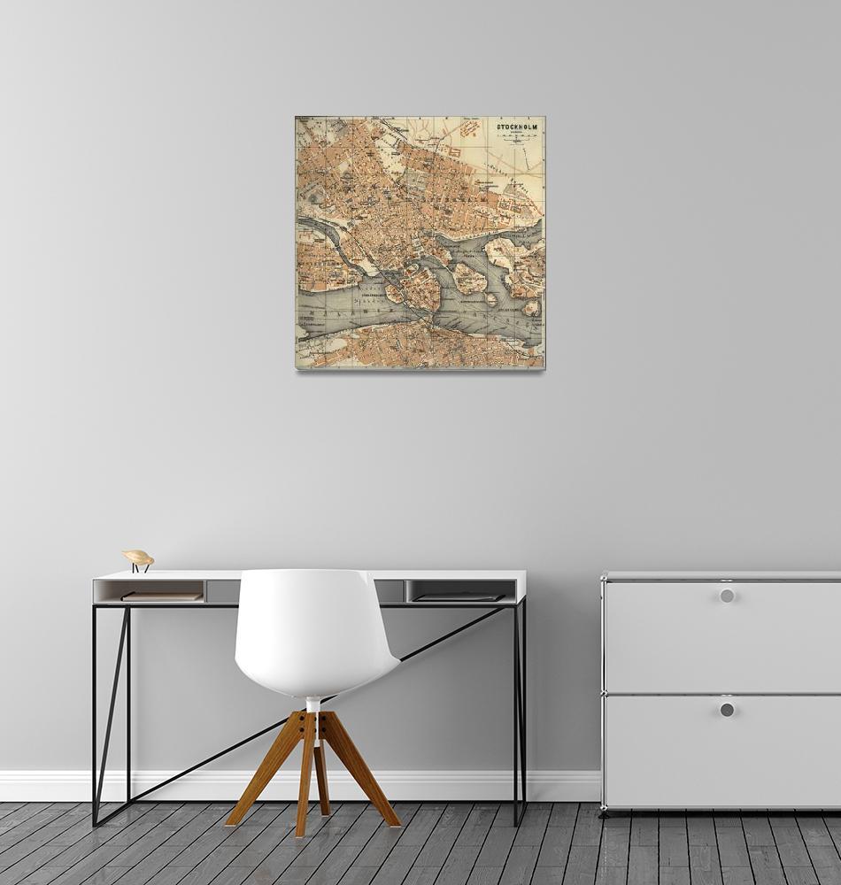 """Vintage Map of Stockholm Sweden (1909)""  by Alleycatshirts"