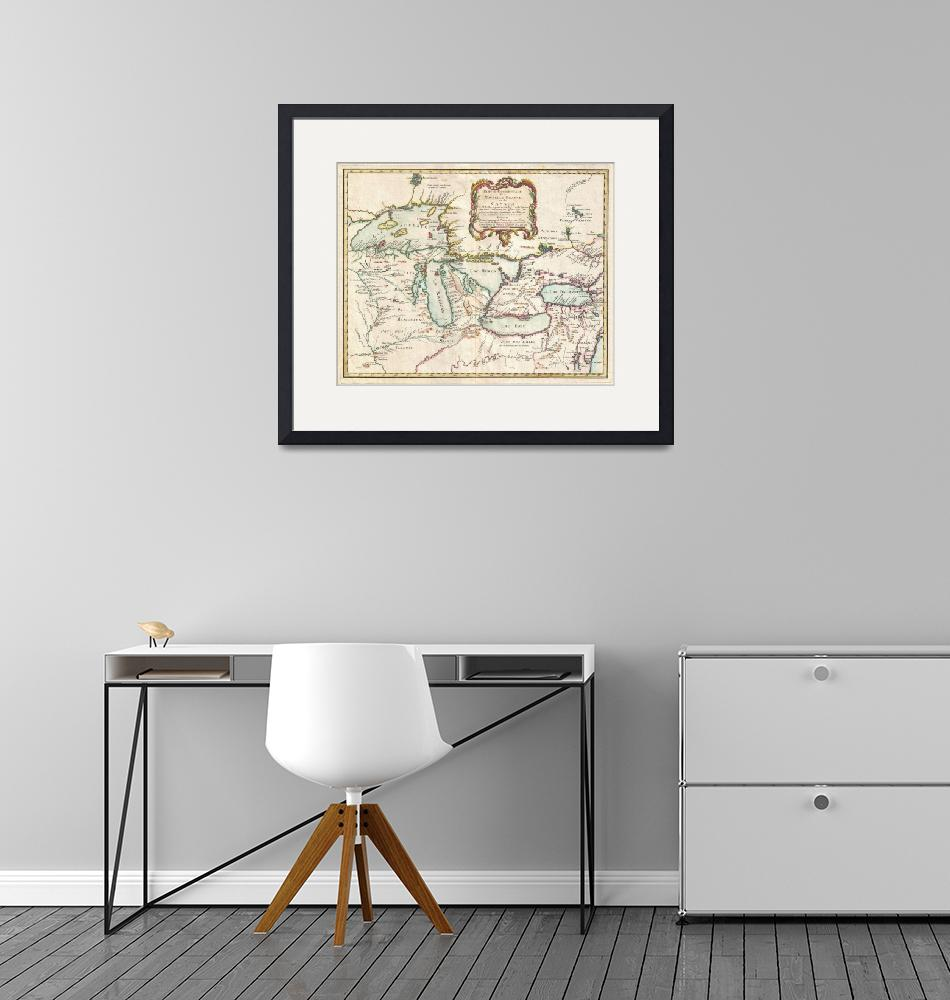 """""""Vintage Map of The Great Lakes (1755)"""" by Alleycatshirts"""