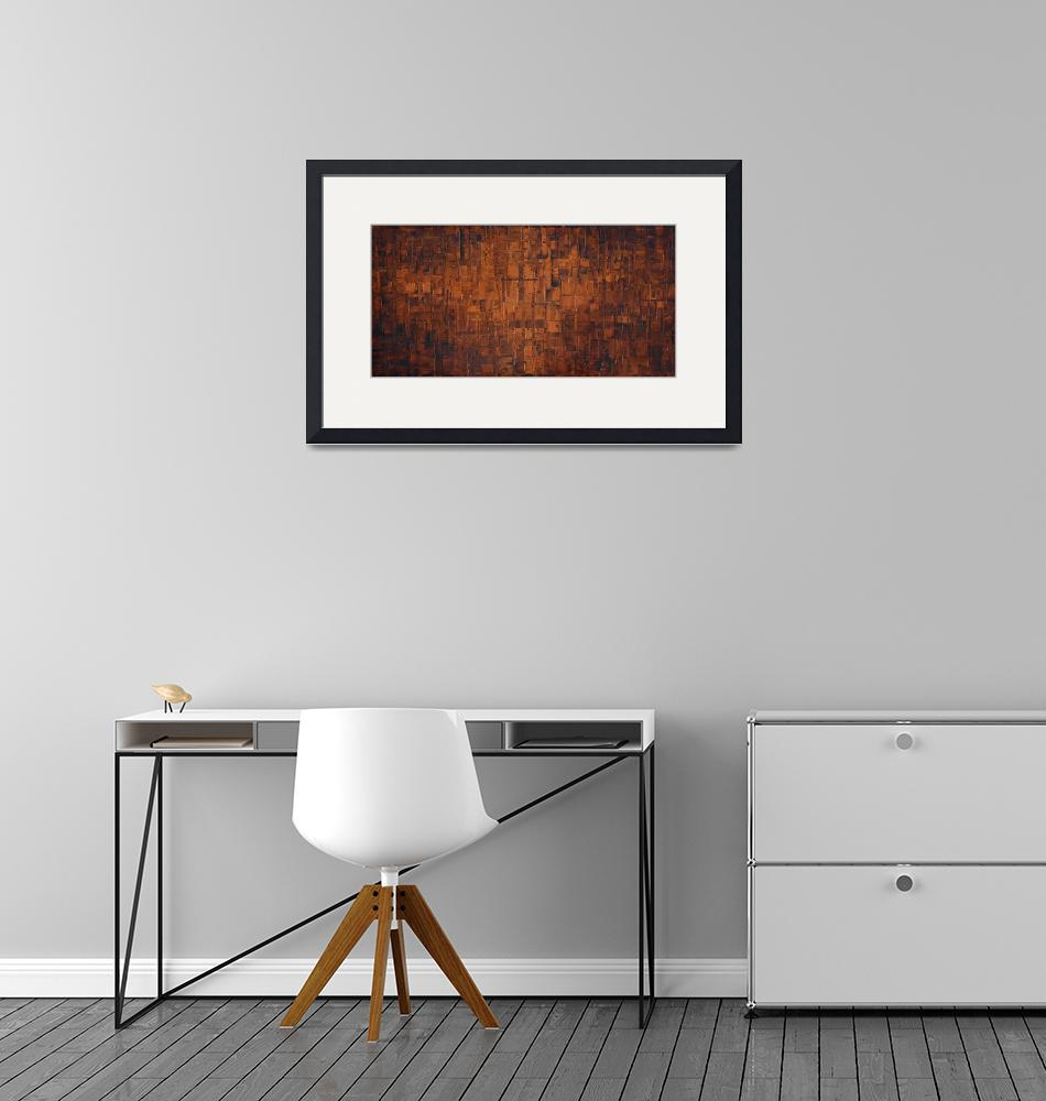 """Abstract art in congnac burnt orange""  (2015) by modernhouseart"