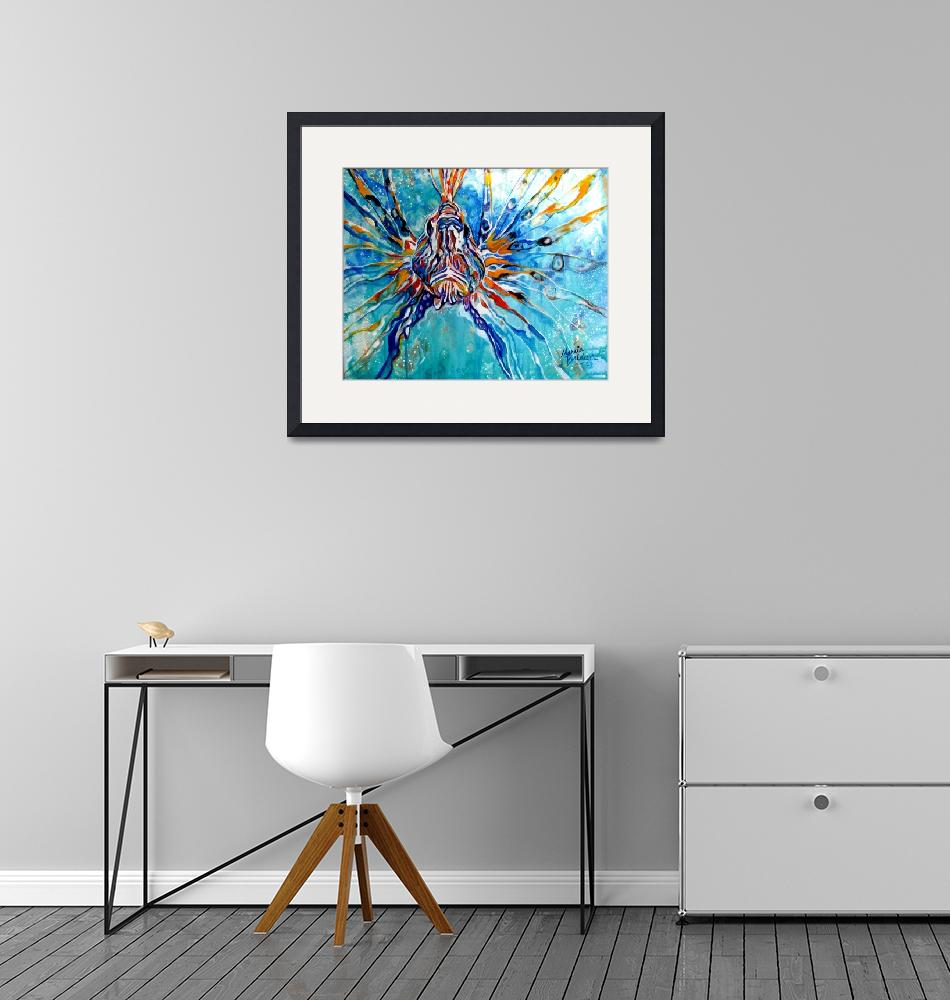 """LION FISH BLUE""  (2013) by MBaldwinFineArt2006"