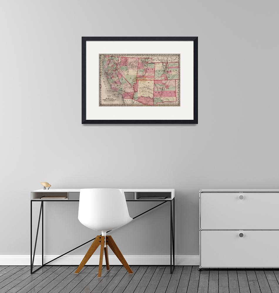 """""""Vintage Southwestern United States Map (1869)""""  by Alleycatshirts"""