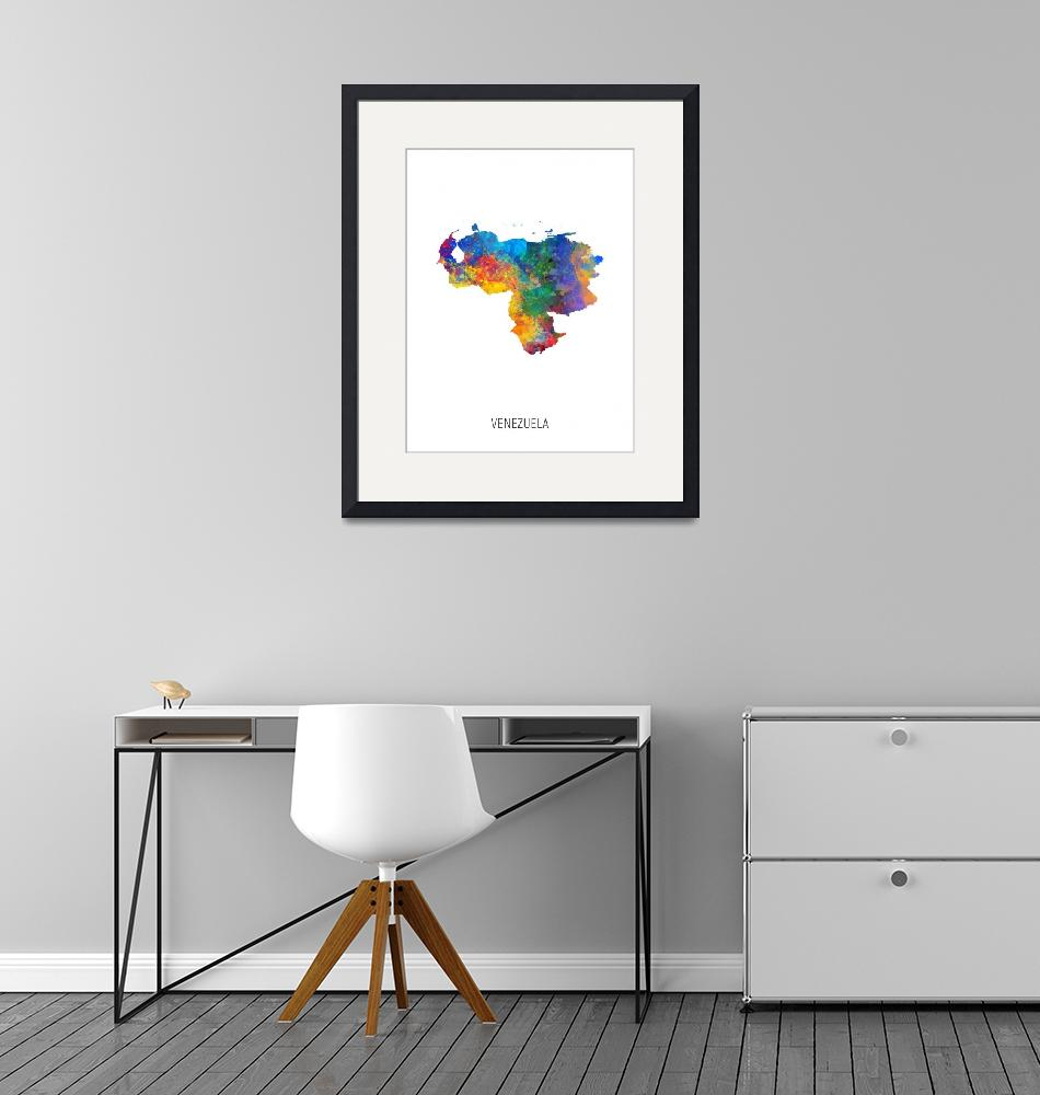 """Venezuela Watercolor Map""  (2019) by ModernArtPrints"