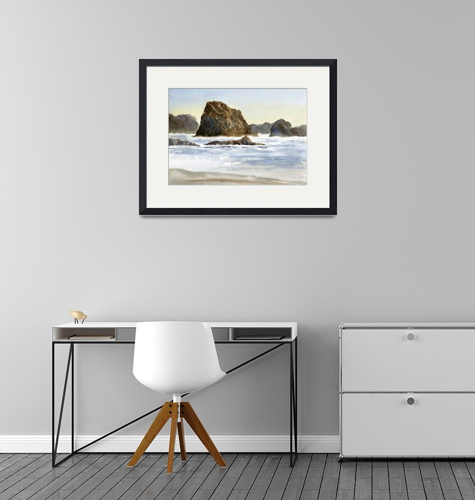 """""""Cannon Beach with Waves and Rocks (horizontal)""""  (2012) by Pacific-NW-Watercolors"""