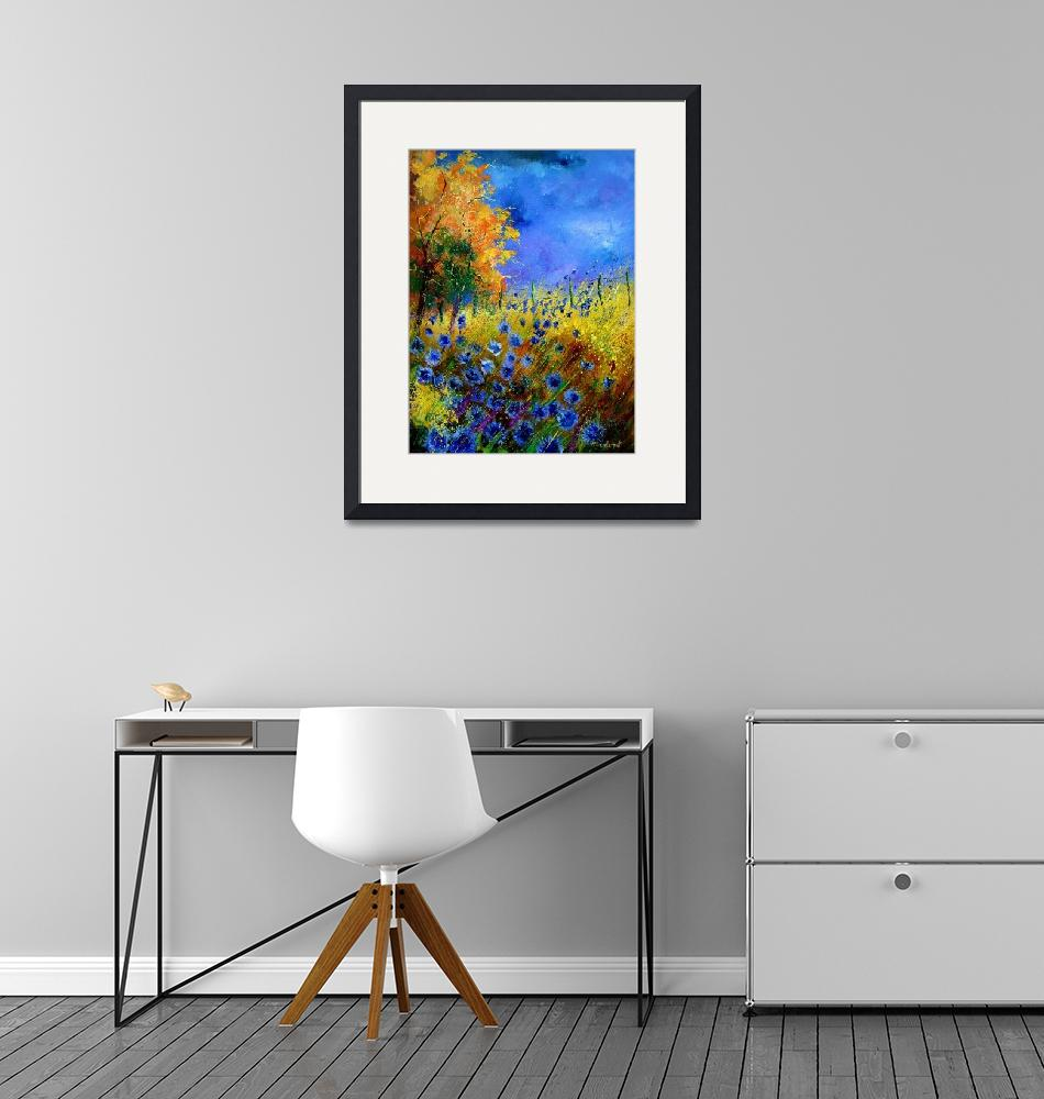 """Blue poppies and orange tree""  by pol"