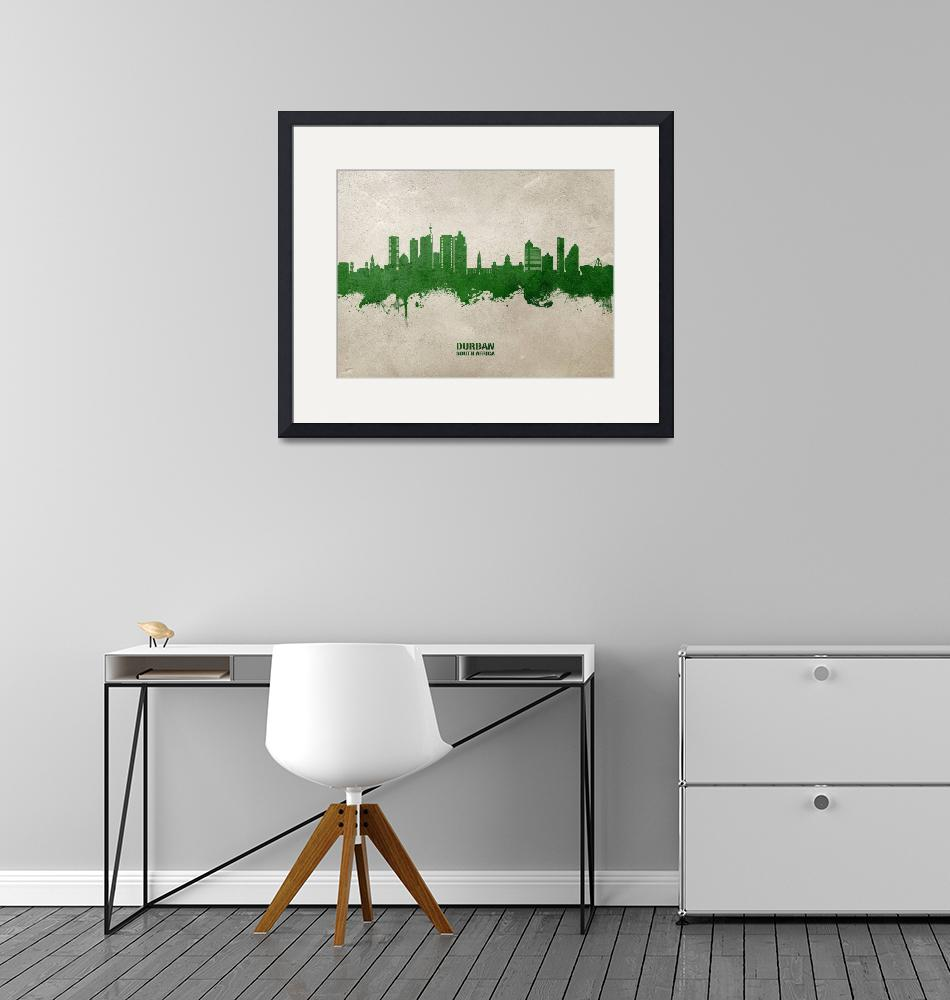 """Durban South Africa Skyline""  (2020) by ModernArtPrints"