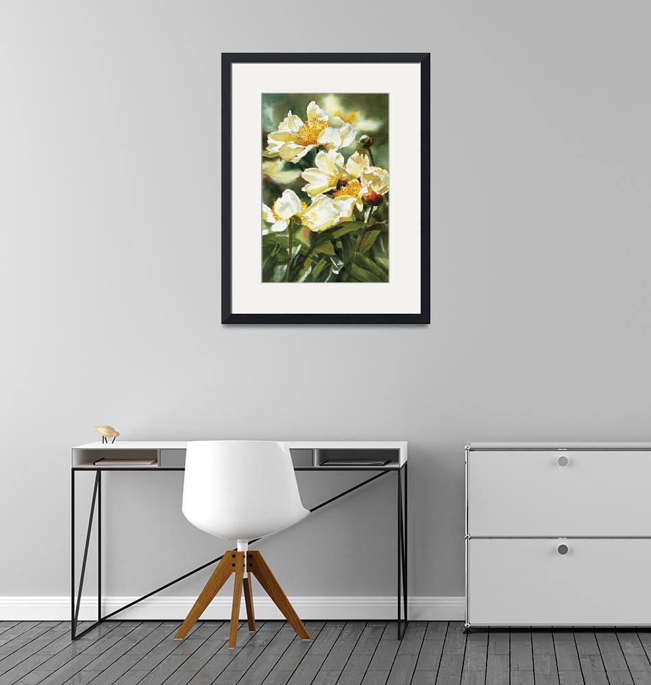 """Gold and White Peony""  (2006) by Pacific-NW-Watercolors"