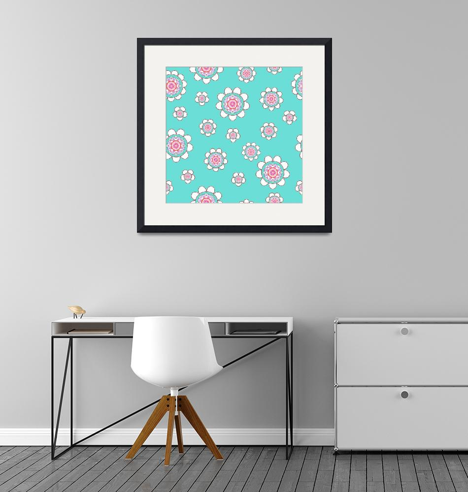 """Mandala Flowers Pattern Blue Pink""  (2019) by ImageMonkey"