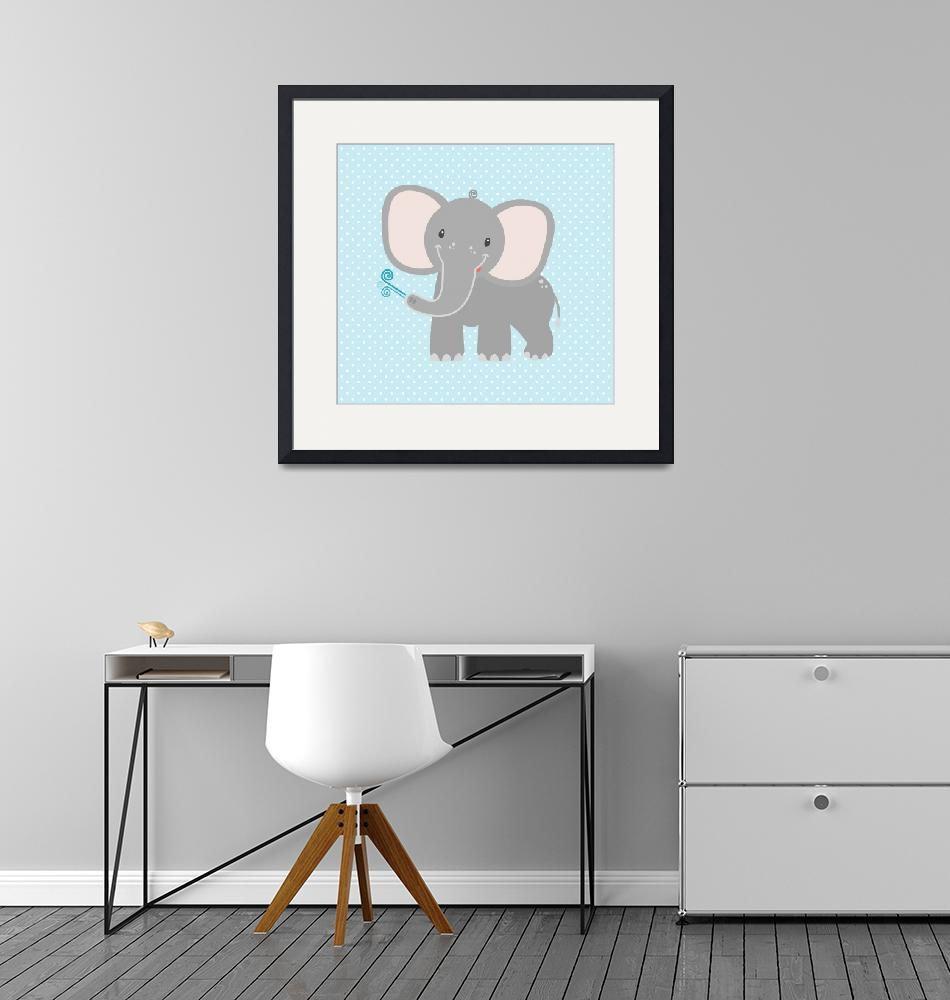 """Elephant  (blue)""  by littlebubbies"