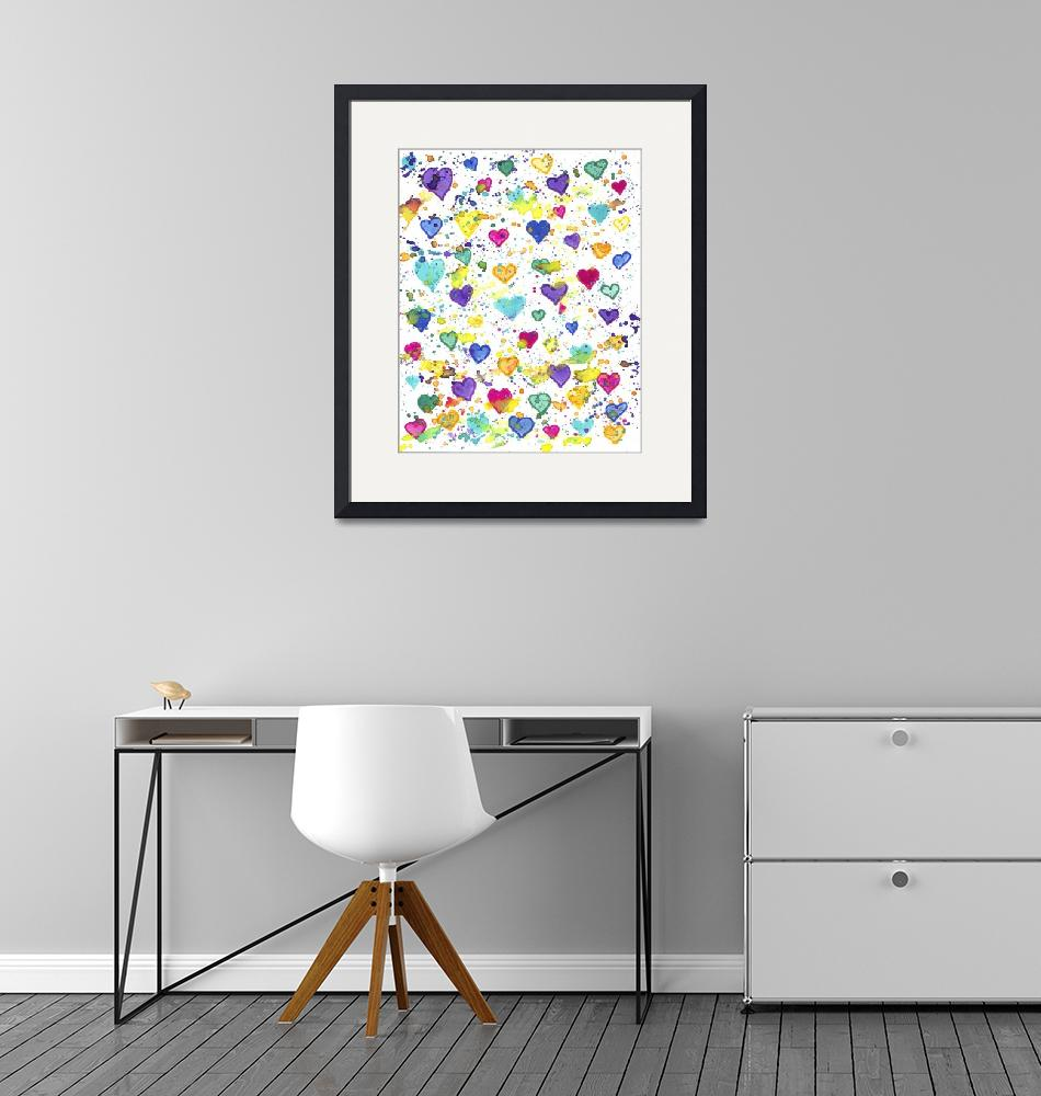 """""""Hearts with Colorful Paint Splatter""""  (2017) by ValeriesGallery"""