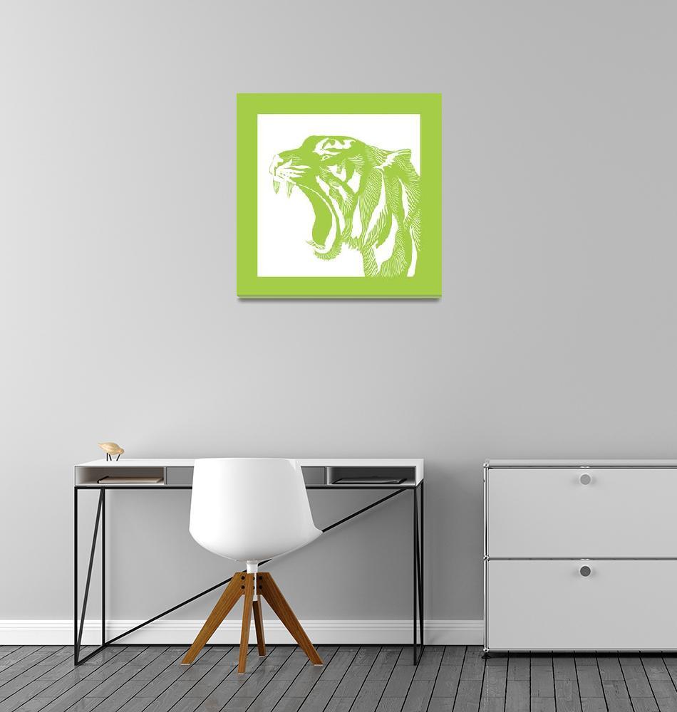 """Linocut Green Tiger""  (2016) by SusanBerryDesign"