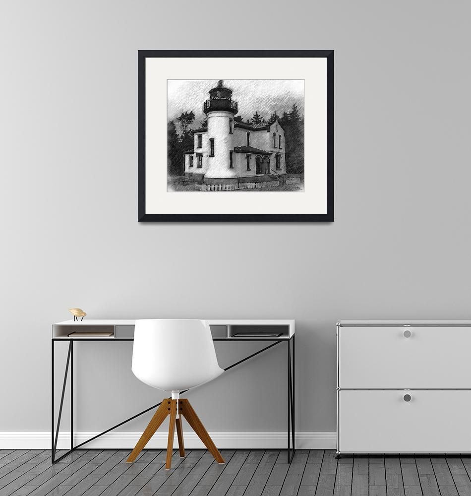 """""""Admiralty Head Lighthouse Sketched""""  (2015) by Kirtdtisdale"""