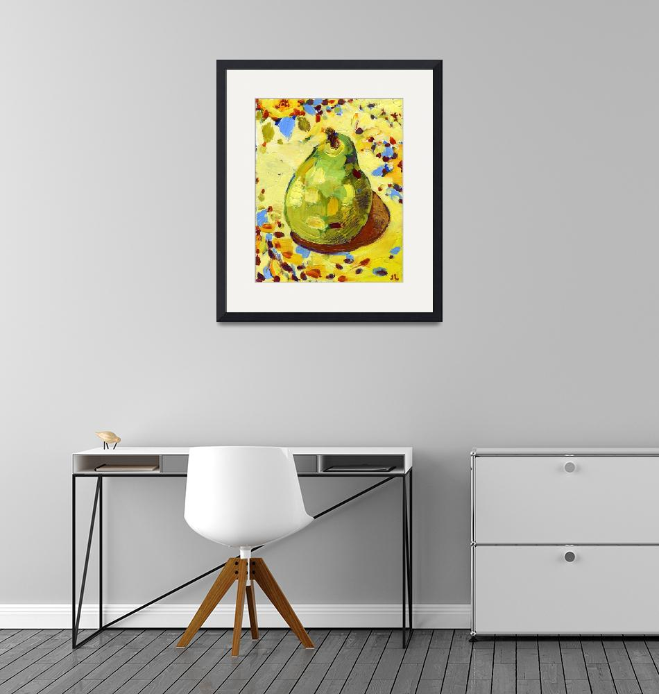 """""""Pear on my Favorite Sunflower Tablecloth""""  by JENLO"""