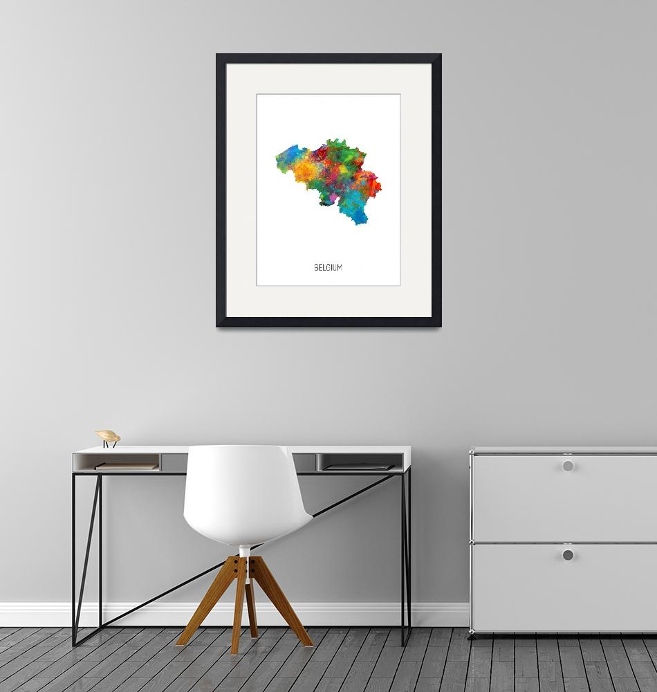 """Belgium Watercolor Map""  (2019) by ModernArtPrints"