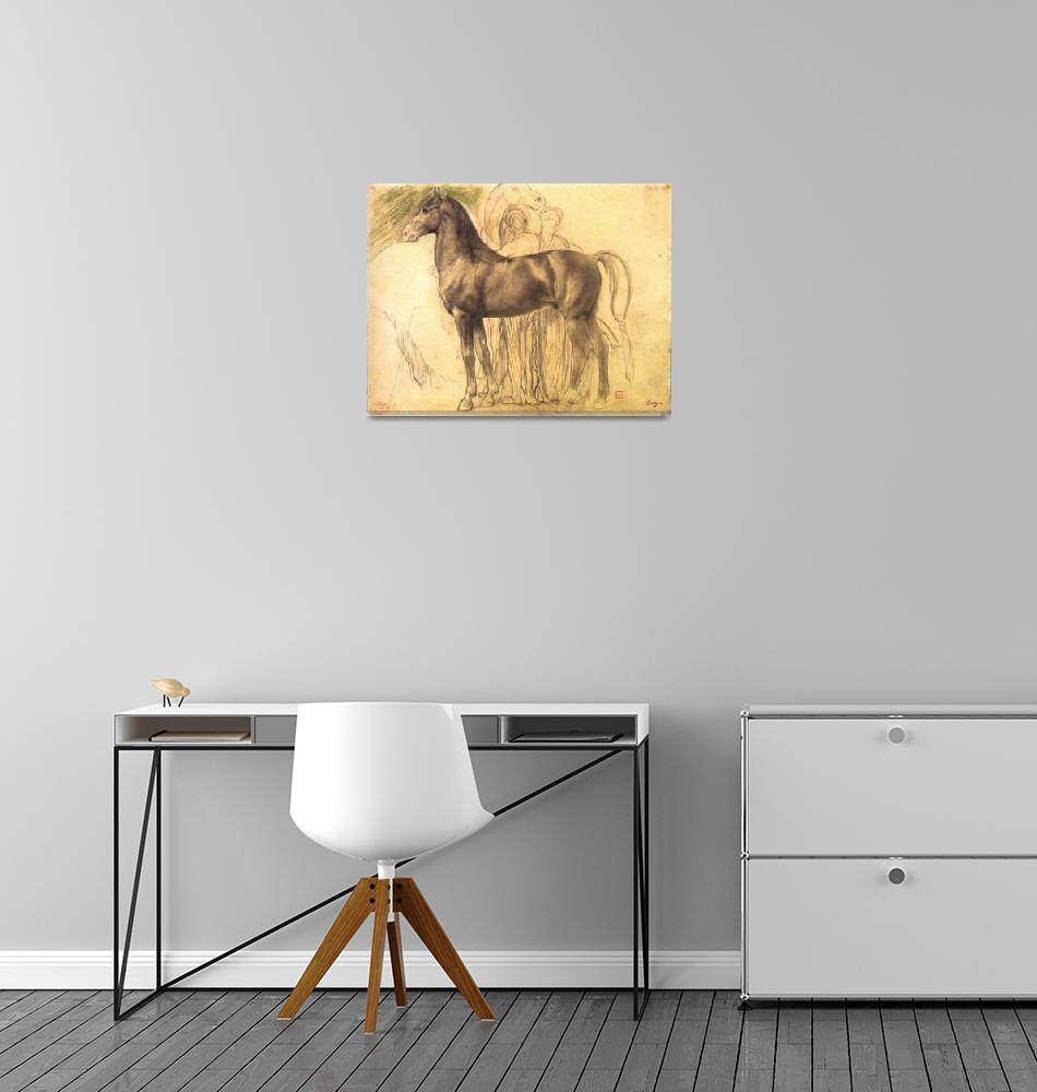 """""""Study of a Horse with Figures""""  by ArtLoversOnline"""