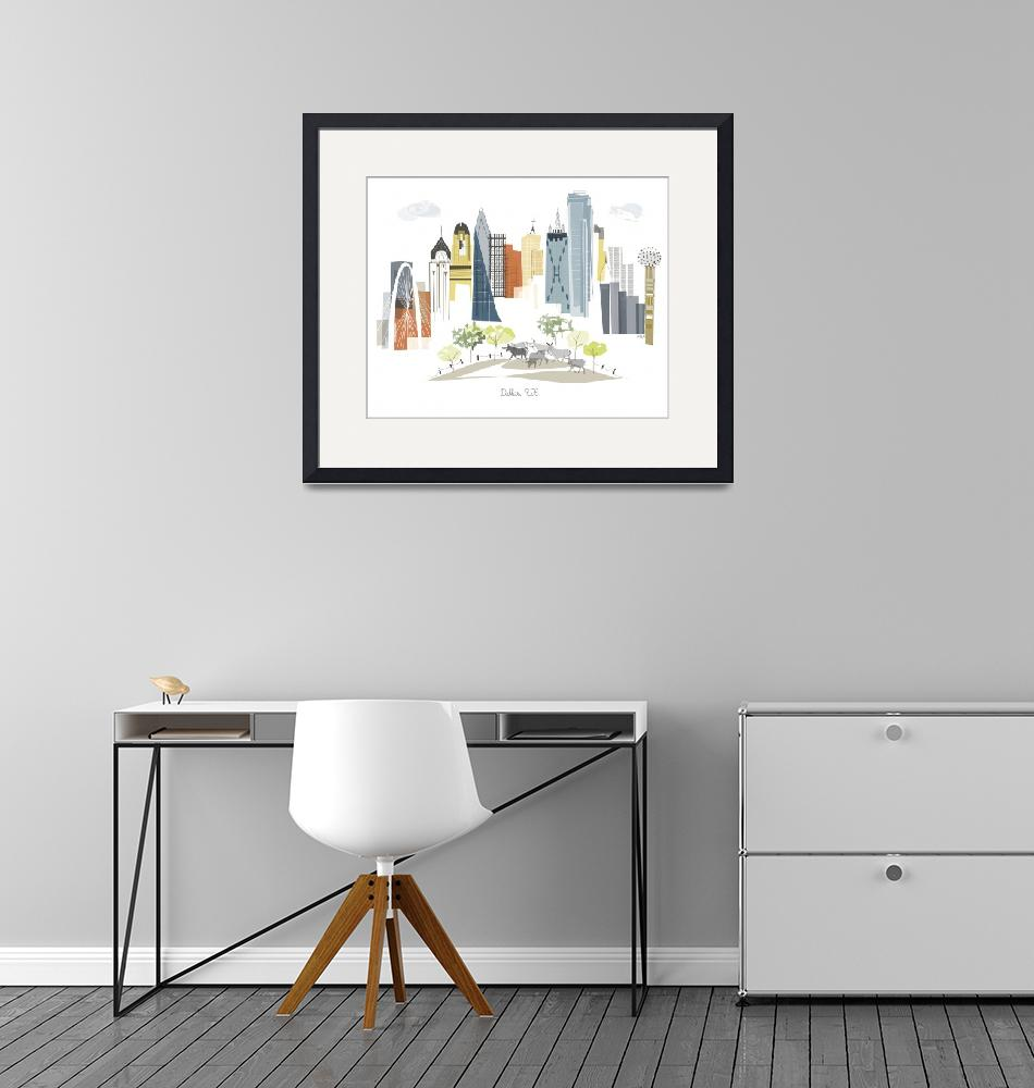 """""""Dallas Modern Cityscape Illustration""""  by AlbieDesigns"""