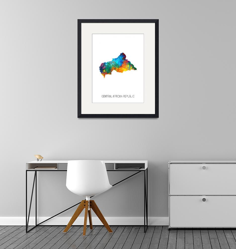 """Central African Republic Watercolor Map""  (2019) by ModernArtPrints"