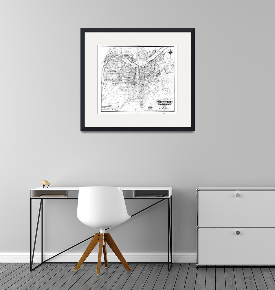 """""""Vintage Map of Louisville Kentucky (1873) BW""""  by Alleycatshirts"""