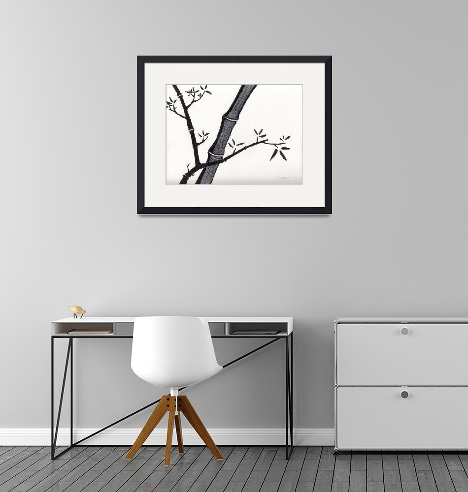 """""""Zen Sumi Bamboo 2a Black Ink on Watercolor Paper""""  (2011) by Ricardos"""