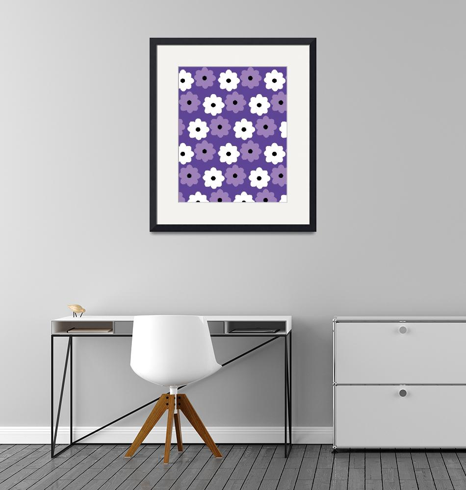 """""""Purple and White Flower Pattern""""  (2021) by ValeriesGallery"""