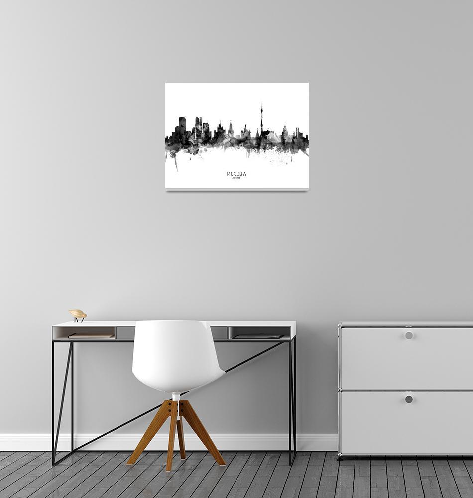 """Moscow Russia Skyline""  (2019) by ModernArtPrints"