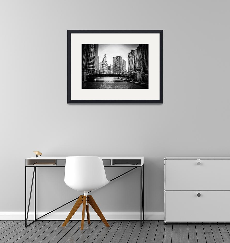"""""""Chicago River Skyline in Black and White""""  (2010) by PaulVelgos"""