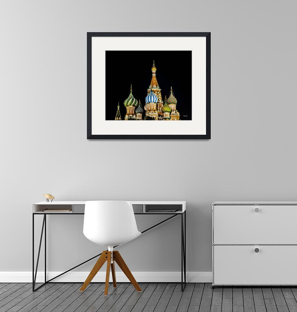 """""""Moscow St. Basils Cathedral at Night""""  (2013) by madeline"""