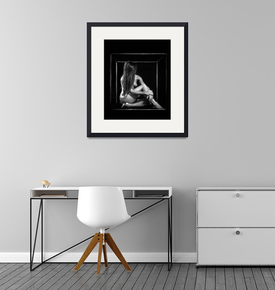"""""""nude sexy lady dancer in a cube on black backgroun""""  (2014) by andriy_petrenko"""