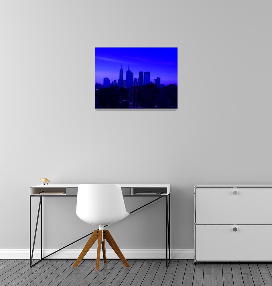 """Abstracted Melbourne Skyline""  (2010) by davidflurkey"