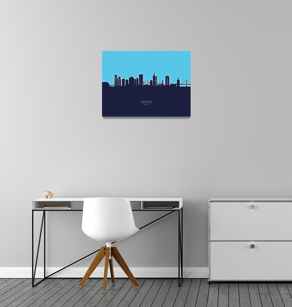 """Lagos Nigeria Skyline""  (2020) by ModernArtPrints"